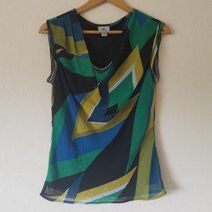 Worthington abstract sleeveless blouse